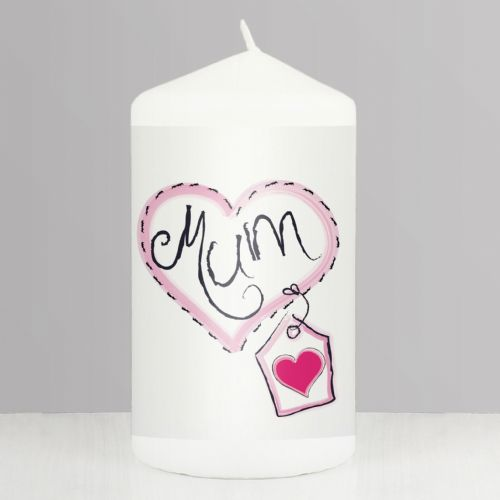 Mum Heart Stitch Design Candle Gift For Mum